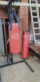 Boxing bags and stand