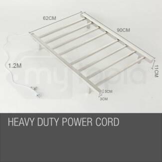 8 Rung Electric Heated Towel Rail Rack Bathroom Warmer Stainless