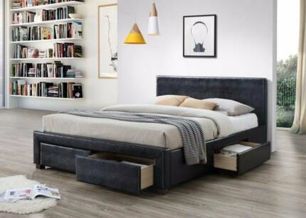 Brand New Double&amp Queen PU Bed with 4 Big Drawers
