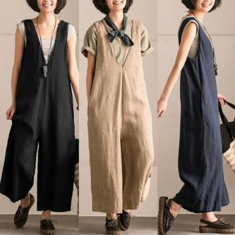 Plus Size 5XL Women Sleeveless V Neck Oversized Overalls