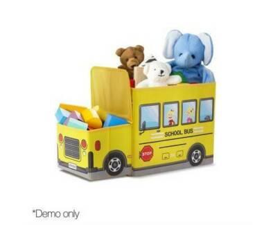 2-in-1 Solid MDF Frame Kids Toy Storage Box / Stool Yellow 56x27x33cm