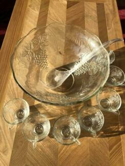 Glass Punch Bowl Set (great for Sangria) with glass cups