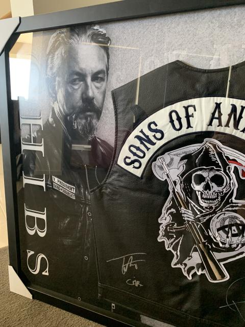 Sons of Anarchy Framed OPIE and CHIBS Black Biker Vest officially licensed