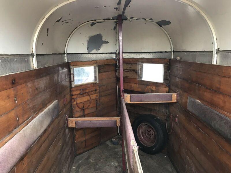 Old vintage retro timber horse float