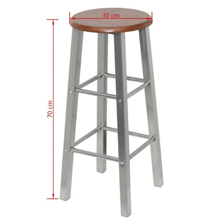 New Items-Bar Stools 2 pcs Metal with MDF Seat(60562)vidaXL Free Delivery*