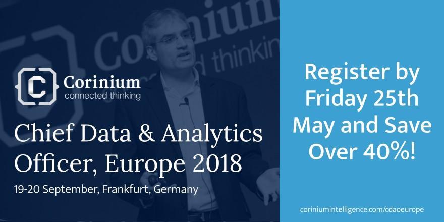 Sep 19th – Sep 20th – Chief Data & Analytics Officer, Sep 2018, Frankfurt, Germany